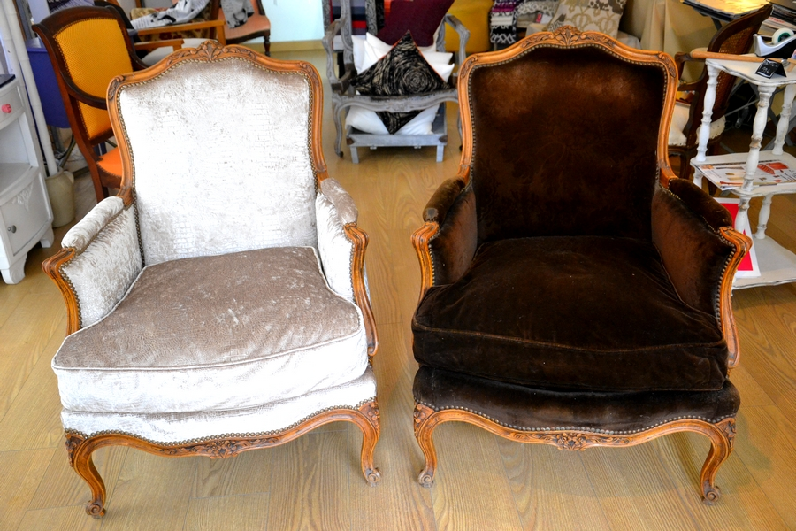 Fauteuil Marron avant & Collection Fauna Beige Apres