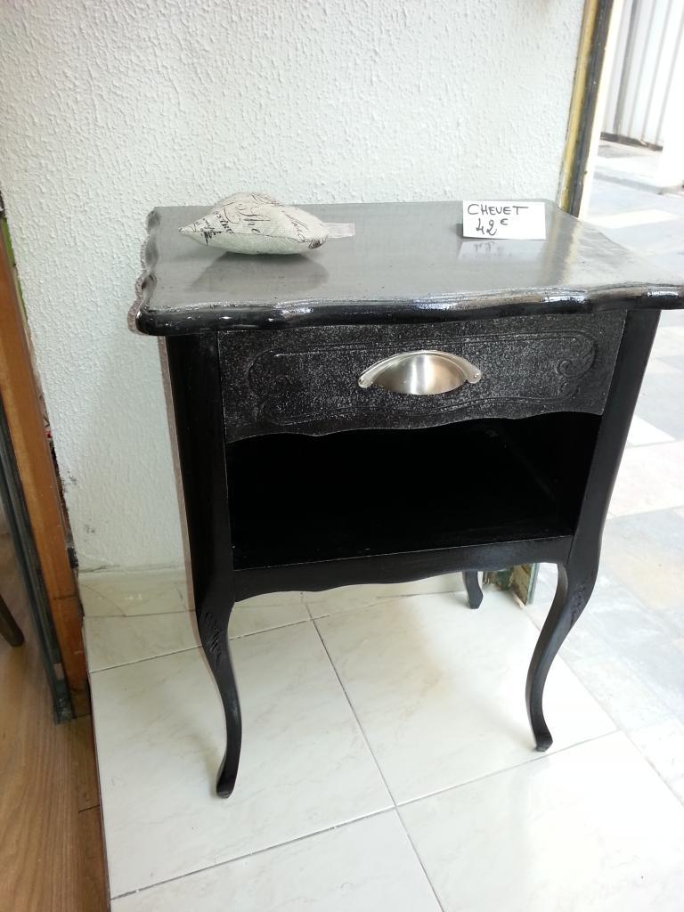Bout de canapé Noir & plateau Béton ciré