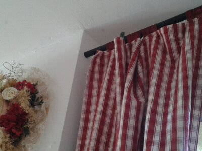 Rideaux à pattes de cuisine vichy, rouge et blanc
