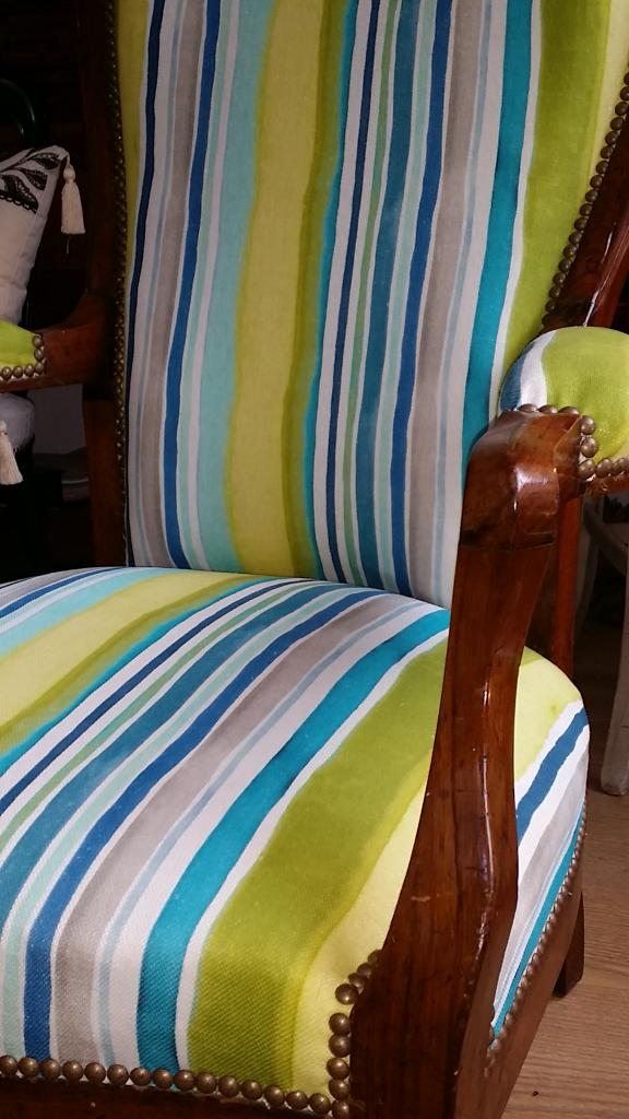 Voltaire Collection Design; Sunrise stripe linen Aqua /Citrus !
